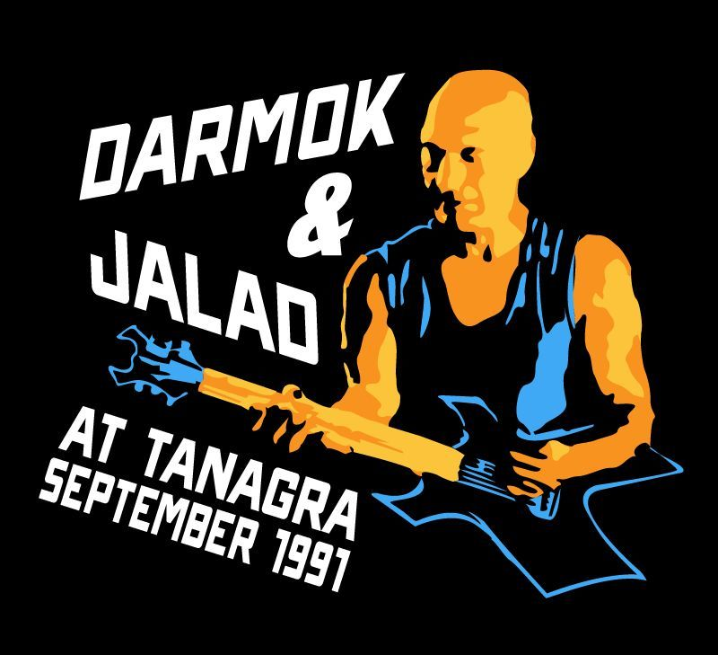 a picture of Jean-Luc Picard holding a guitar, with text that reads 'Darmok & Jalad at Tanagra September 1991', made to look like a concert promo. art by nerdvana clothing.